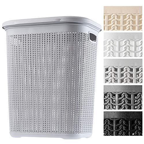 KADAX Wäschekorb, 50L, multifunktionale Wäschetruhe mit Deckel, Leichter Wäschesammler, Wäschesortierer aus Kunststoff, für Bad, schmutzige Kleidung, Spielzeug, Wäschebox (grau)