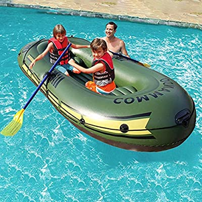 N/Y Inflatable Boat, Inflatable Three Person Fishing Air Boat Inflatable Kayak Set with 2 Cushions