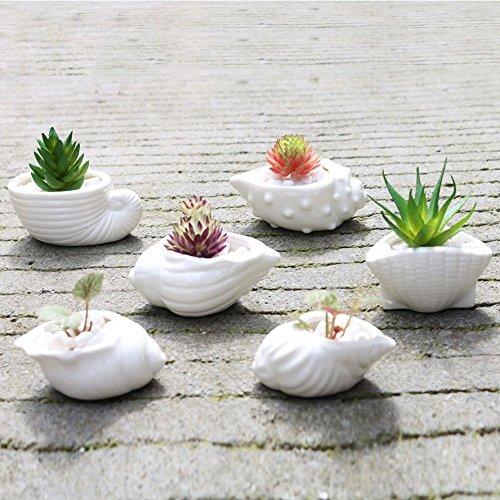 Ganeep 6 pcs/ensemble Mini Blanc Petit Pot De Fleurs Forme Céramique Plante Succulente Pot Titulaire Fée Jardin Cactus Fleur Pots Jardinière