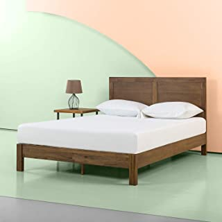 Zinus 12 Inch Acacia Wood Platform Bed with Headboard / No Boxspring Needed / Wood slat, Twin