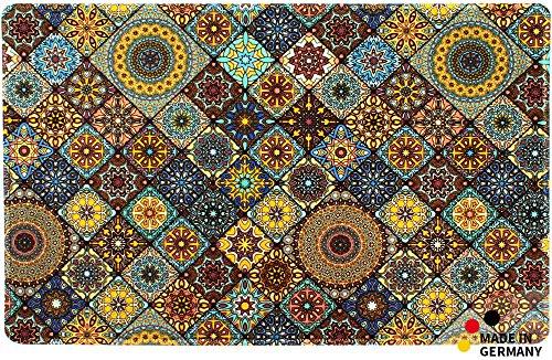 matches21 HOME & HOBBY Keukenloper tapijt tapijt moroccan tegel mozaïek blauw/oranje 50x80x0,4 cm machine wasbaar
