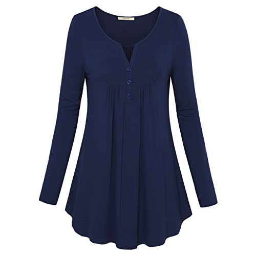 a17bdb0a84c5 Bebonnie Women's Long Sleeve V-Neck Pleated Flared Basic Tunic Top Shirts  Blouse