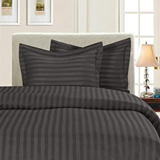 Duvet Cover Set with Zipper Closure 3pc Duvet Cover Set Oversized Super King (120'' x 98'') Size with Corner Ties,100% Egyptian Cotton 1000 Thread Count (Oversized Super King Size Dark Grey Stripe)