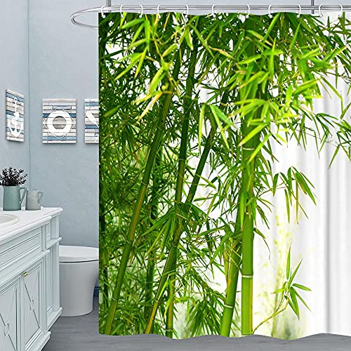MundW DAS DESIGN Duschvorhang Bambus Textil Vorhang grün exotisch Bambus-Baum-Wald Schimmelresistent Bambusblatt Farbfest inkl. 12 C-Ringe Gewicht unten 180x180cm(BxH)