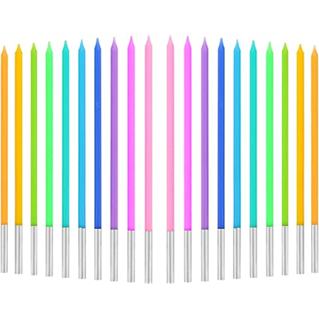 TOYMIS 20 Pieces Birthday Cake Candles with Rainbow Color Long Tall Cupcake Candles for Birthday Wedding Baby Shower Party Decoration