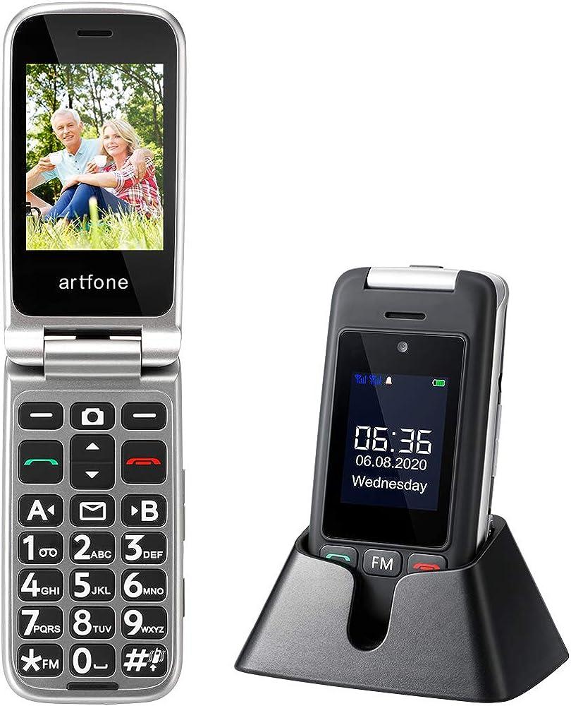 Cellulare per anziani artfone c10 gsm telefono per anziani a conchiglia tasti grandi