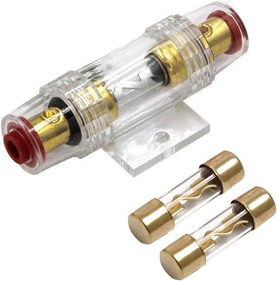 Carviya Sicherungshalter Wasserdicht 4 8 Awg 25 10 Mm Inline Sicherungshalter Mit Zwei 100 A Agu Typ Sicherungen Für Pkw Audio Alarm Verstärker Kompressoren Auto