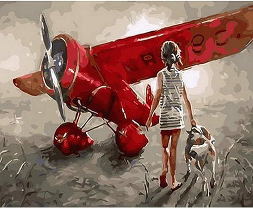 Waofe Tableau Peintures à L'Huile Par Numéros Décoration Murale Bricolage Peinture Sur Toile Pour La Décoration De La Maison Avion- No Frame4