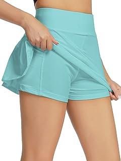 welezhu Women's Tennis Skirt Active Athletic Skorts with Pockets Sport Shorts for Running Workout Golf Tennis