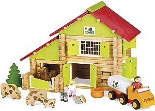 Jeujura - 8054- Jeux de Construction-Chalet a Comte avec Camion et Animaux - 180 Pieces