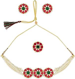 Zaveri Pearls Pink Green Enamel Multistrand Choker Necklace Earring & Ring Set For Women-ZPFK10772