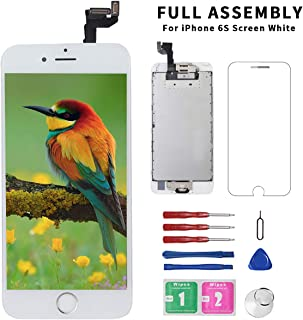 for iPhone 6s ScreenReplacement White with Home Button+FrontCamera+Earpiece+Speaker, Diykitpl 3D Touch Digitizer Replacement Screen for iPhone 6s Model A1633/A1688/A1700 Full Assembly Repair Tool