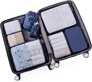 Packing Cubes Waterproof Clothes Storage Bag 8 Set Travel Luggage Packing Organizers with Shoe Bag with Laundry/Toiletry Bag QDDSP (Color : E)