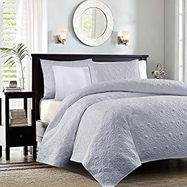 Madison Park Quebec Coverlet Mini Set, Full/Queen, Grey