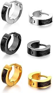 Stainless Steel Huggies Earrings, Hoop Ear Stud for Men and Women 4 Pairs Set Black Silver Gold