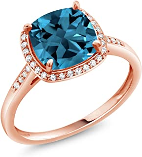Gem Stone King 2.74 Ct Cushion London Blue Topaz 10K Rose Gold Engagement Ring with Diamond Accent (Available 5,6,7,8,9)
