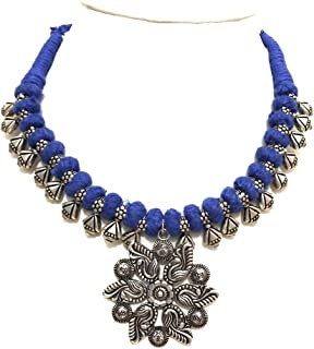 Blue Necklace Thread Jewelry Oxidised Beads Intertwined With a Dokra Pendant Dangling