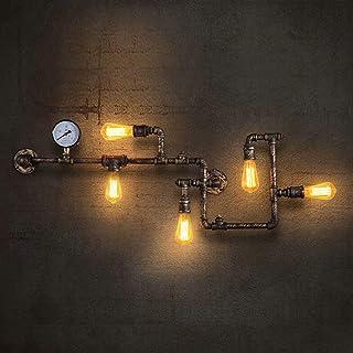 Lingkai Lámpara de Pared Tubería de Agua Aplique de Pared Industrial Retro Luz de Pared para Restaurante, Cafe, Bar, Cocina, Dormitorio