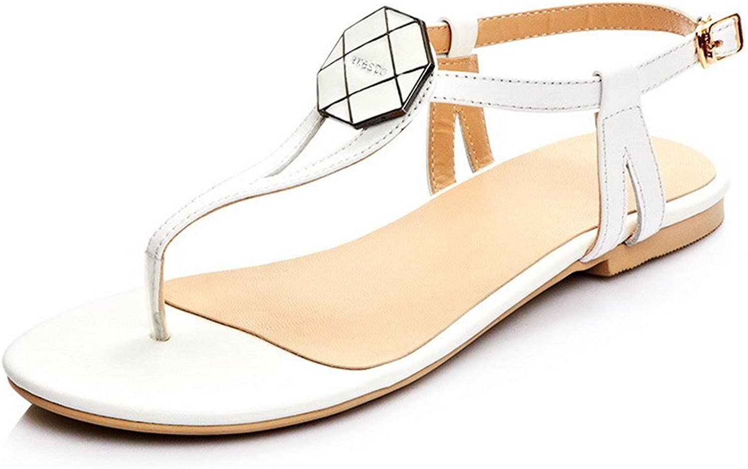AmoonyFashion Women's Frosted Split Toe No Heel Pull On Solid Sandals