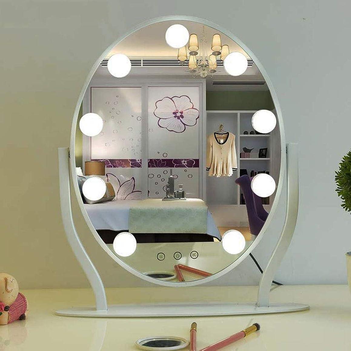 おとこ適用するあご明るいLED化粧鏡 ライトアップ 大型ドレッサーミラー メタルフレーム 調整可能3光源 、センサースイッチ シェービングミラー 寝室 さんギフト