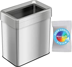 iTouchless 16 Gallon Dual-Deodorizer Open Top Trash Can Rectangular Shape, Commercial Grade Stainless Steel, 61 Liter Recy...