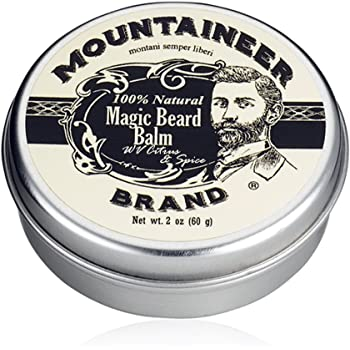 Magic Beard Balm Leave-in Conditioner by Mountaineer Band | Natural Oils, Shea Butter, Beeswax Nourishing Ingredients | 2-oz Citrus & Spice Scent