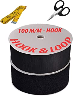Black Colour Hook and Loop Tape Fasteners with Tailoring Tape + Easy Grip Scissor (100 mm Width x 25 Mtrs)