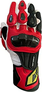Full finger Carbon Fiber Motorcycle Gloves for Men GP-PRO Genuine Leather Motor Racing Gloves(G07-Red, Large)