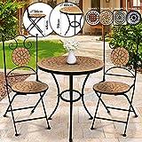 Set da Giardino Mosaico - Tavolo Rotondo (Ø/A: 60x70cm) + 2 Sedie Pieghevoli (46cm Altezza Seduta), Marrone Nero - Mobili da Esterno, da Balcone