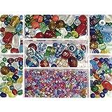 Rayher Cuentas de Cristal, coloreado, Colores y tamaños mixtos, caja 115g