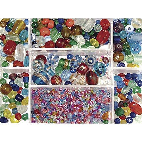 RAYHER Glasperlen-Mix, Sammelbox 115g, bunt, ø 2,5 – 13mm
