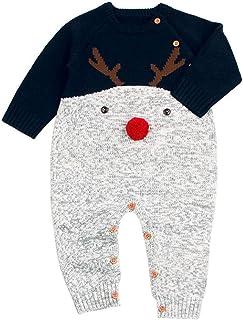 89f99f8e95cc2 Rameng Cerf de Noël Combinaison Bebe Manche Longue Tricoté Jumpsuit Outfits  pour 0-24mois Garcon