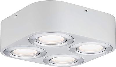 Paulmann 79711 LED Argun carré orientable avec Plafonnier 4 x 4,8 W à intensité variable en aluminium brossé, salon en métal, lampe de couloir 3000 K, 4er-Spot