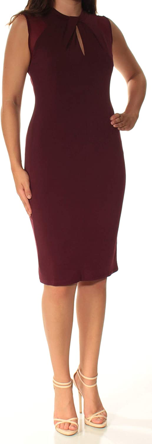 Inc Womens Burgundy Sleeveless Keyhole Knee Length Body Con Cocktail Dress US Size  S