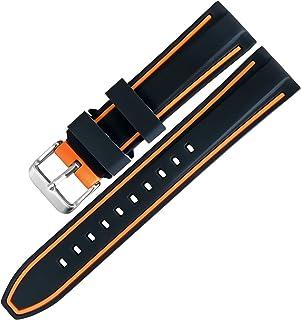 【TON CHARME】トンチャーメー 腕時計用ベルト シリコン 時計バンド 汎用 ミックスカラー 多色選択 スポーツ 柔らか 防水防汗タイプ20mm/22mm/24mm (20mm, ブラック/オレンジ)