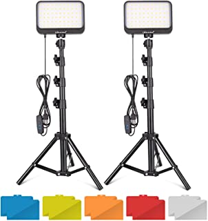 UBeesize LED Video Light Kit, 2Pcs Dimmable Continuous Portable Photography Lighting with Adjustable Tripod Stand & 5 Colo...