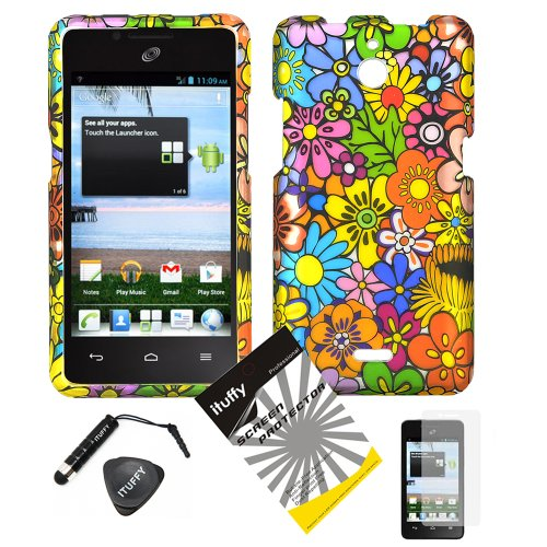 4 items Combo: ITUFFY (TM) LCD Screen Protector Film + Mini Stylus Pen + Case Opener + Pink Green Orange Blue Purple Spring Cartoon Color Daisy Flower Design Rubberized Snap on Hard Shell Cover Faceplate Skin Phone Case for Huawei VALIANT Y301 / Straight Talk Huawei Ascend Plus H881C