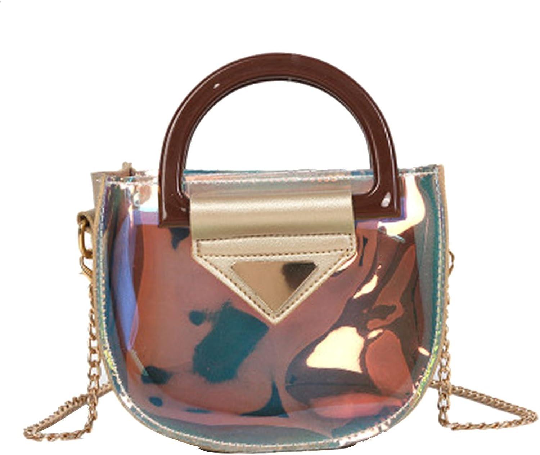 Ccassie Women Lady Fashionable Laser Leather Shoulder Bag Shiny Hologram Holographic Tassel Crossbody Bag Handbag