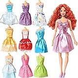 Rainbow Handmade Dresses for Barbie Doll, Pack of 9