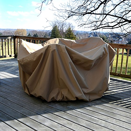 Island Umbrella NU5542 All-Weather Protective Cover for 48' Round Table & Chairs with Umbrella Hole