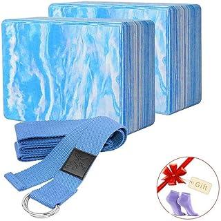 2Pcs Yoga EVA Foam Roller Block Pilates MassageRoller Brick Yoga Stretch Belt Strap Fitness Tool for Body Exercise Gym Fit...