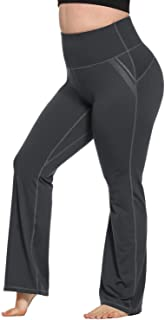 Women's Plus Size Dress Yoga Leggings with Pocket High Waist Stretch Bootcut Flared Leg Pants for Indoor Sport