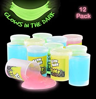 Kicko Glow in The Dark Slime - 12 Pack Assorted Neon Colors - Green, Blue, Orange and Yellow for Kids, Goody Bag Filler, Birthday Gifts Non-Toxic