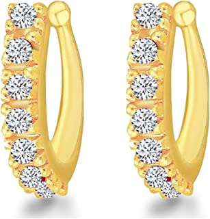 MEENAZ Traditional American diamond Jewellery Sania Mirza Clip on Pressing Type Without Piercing Nath Nose Ring Press pin ...