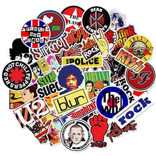 50 Pcs Stickers Rock Roll Music Stickers for Laptop Guitar Electronic Organ Piano Skateboard Luggage Flask Phone Computer Car Vinyl Waterproof Random Graffiti Decals Pack(Rock Music)