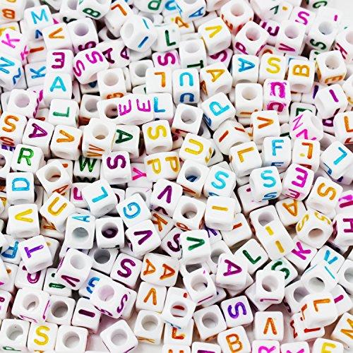 ESUMIC Mixed 500PCS 6mm Acrylplastik Buchstabenperlen Spacer Würfel Buchstabenperlen für DIY Armband-Halsketten -Anhänger (Weiß&Multi)
