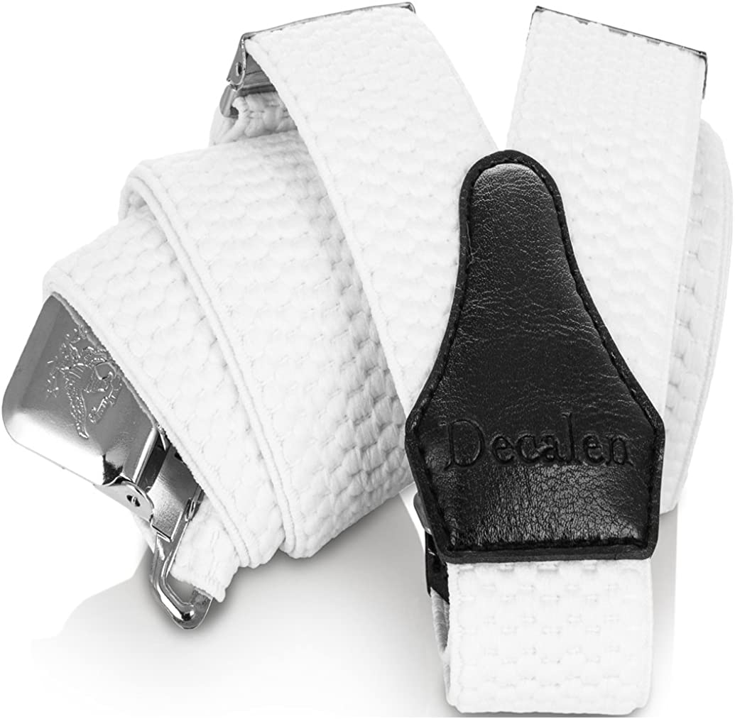Decalen Mens Braces X Style Very Strong Clips Adjustable One Size Fits All Heavy Duty