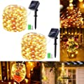 Solar String Lights, 2 Packs 49Ft 150 LED Solar Fairy Lights, 8 Modes Waterproof Outdoor String Lights, Copper Wire Solar Powered String Lights for Patio, Garden, Tree, Home, Trees Decor (Warm White)