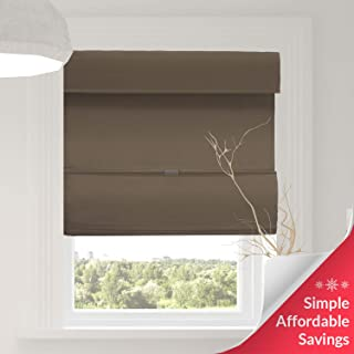 Chicology Cordless Magnetic Roman Shades / Window Blind Fabric Curtain Drape, Function, Room Darkening - Grounded Brown, 27