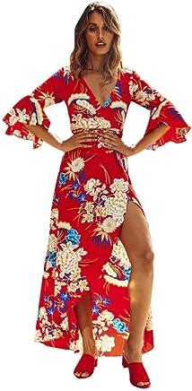 b1abfcc223 Hemlock Wrap Dress Hawaii Sundress Long Maxi Dress Women V Neck Floral Boho  Dress (L